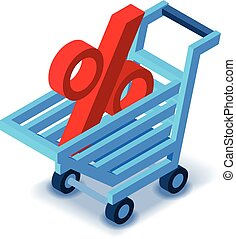 Shopping cart percent sign icon, isometric style