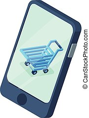 Shopping cart phone screen icon, isometric style