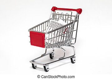 Shopping cart with cash receipt isolated on white