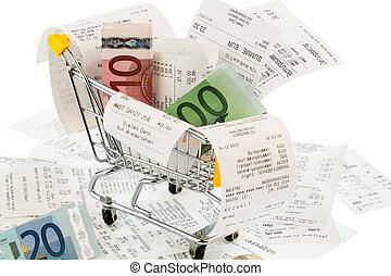 shopping cart, receipts and money - shopping cart, bills and...