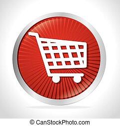 shopping cart red button design