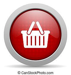 shopping cart red circle web glossy icon