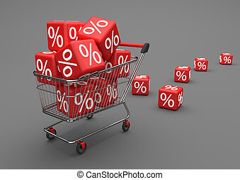 Shopping Cart Red Percent Cubes