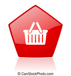 shopping cart red web glossy icon
