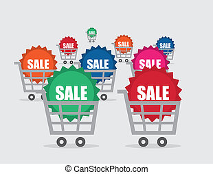 Shopping Cart Sale Sticker Many Col