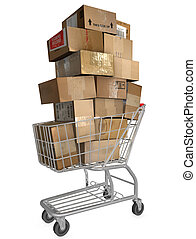 Illustration of shopping cart & stack of shipping carton packages; internet mail orders; online checkout.
