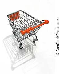 Shopping cart with shadows and reflections