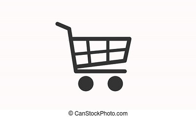 Shopping Cart sign appear in center and disappear after some time. 4k animated footage