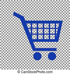 Shopping cart sign. Blue icon on transparent background.