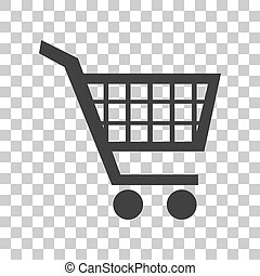 Shopping cart sign. Dark gray icon on transparent background.