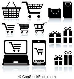 Shopping Cart Sign - Set of Black Icons, Vector Illustration