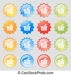 Shopping Cart sign icon. Online buying button. Big set of 16 colorful modern buttons for your design. Vector
