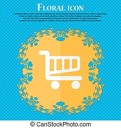 Shopping Cart sign icon. Online buying button. Floral flat design on a blue abstract background with place for your text. Vector