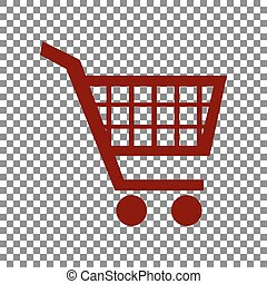 Shopping cart sign. Maroon icon on transparent background.