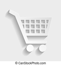 Shopping cart sign. Paper style icon