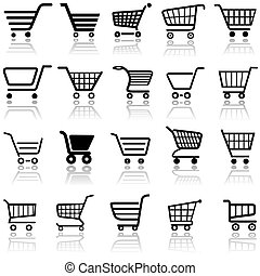 Shopping Cart Sign - Set of Black Icons, Vector Illustration