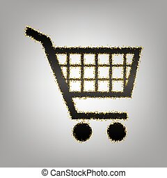 Shopping cart sign. Vector. Blackish icon with golden stars...