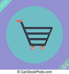 Shopping cart sign - vector illustration.