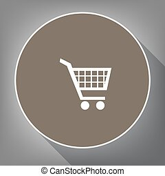 Shopping cart sign. Vector. White icon on brown circle with white contour and long shadow at gray background. Like top view on postament.