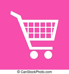 Shopping cart sign. White icon at magenta background.