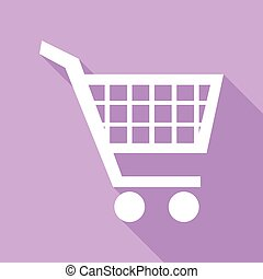 Shopping cart sign. White Icon with long shadow at purple background. Illustration.
