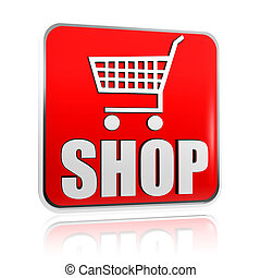 shopping cart sign with word shop banner - 3d red banner ...