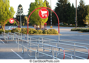 Shopping Cart Signs in the Parking Lot