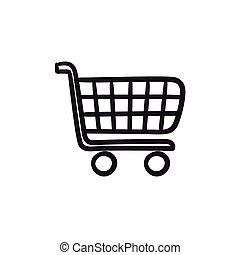 Shopping cart sketch icon.