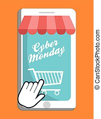 Shopping cart smartphone and cyber monday design