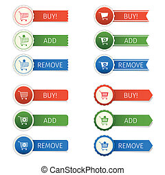 Shopping cart stickers set