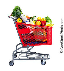 Shopping cart. - Grocery shopping cart with food. Isolated...