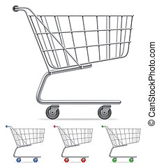 Supermarket shopping cart with color wheels and handle.