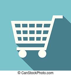Shopping cart symbol flat design vector blue internet icon
