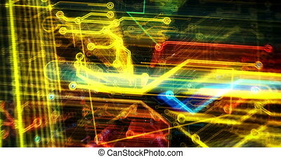 Shopping cart symbol hologram 3D rendering animation. Abstract flight in cyberspace. Online store, cyber business, sale, buy, commerce, discount and internet shop concept.