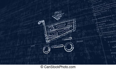 Shopping cart symbol project creating. Abstract concept of sale, buy, discount, cyber business, online store and internet shop 3d animation. Drawing digital scheme of futuristic idea.