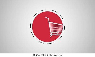 Shopping cart symbol HD animation - Shopping cart inside...