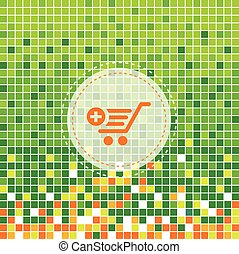 shopping cart symbol on green moses background