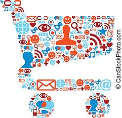 Shopping cart symbol with media icons texture - Social media...