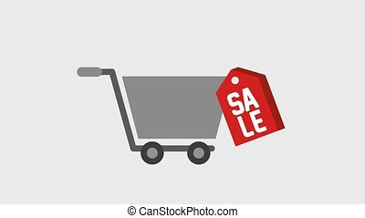 shopping cart tag price sale animation - shopping cart tag...