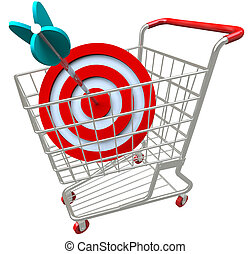 Shopping Cart Target and Arrow in Bulls-Eye - A shopping...