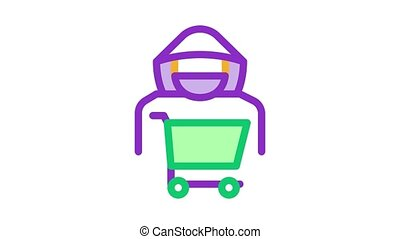 Shopping Cart Thief Icon Animation. color Shopping Cart Thief animated icon on white background