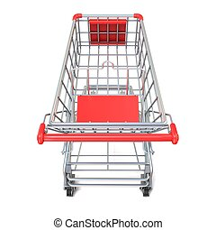 Shopping cart, top view. 3D render illustration isolated on...