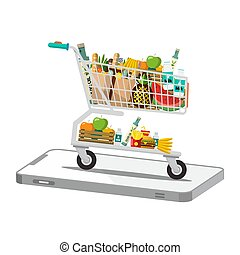 Shopping Cart - Trolley on Phone Isolated on White Background
