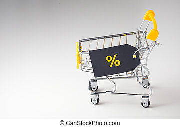 Shopping cart trolley with sale tag