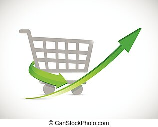 shopping cart up arrow illustration design over a white ...