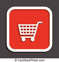 Shopping cart vector icon. Flat design square internet red button.