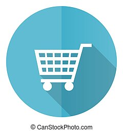 Shopping cart vector icon, shop, trolley flat design blue round web button isolated on white background
