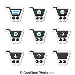 Shopping cart vector icons set - Black and blue labels set...