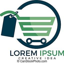 Shopping cart vector logo design. - On-line shopping app...