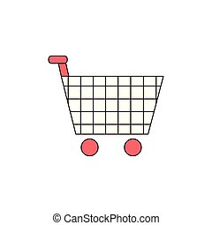 Shopping Cart Vector Outline Icon Illustration